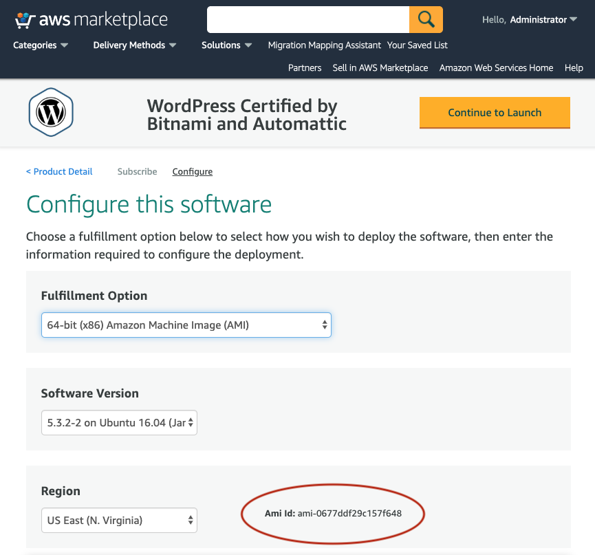 """AWS Marketplace """"configure this software"""" page"""