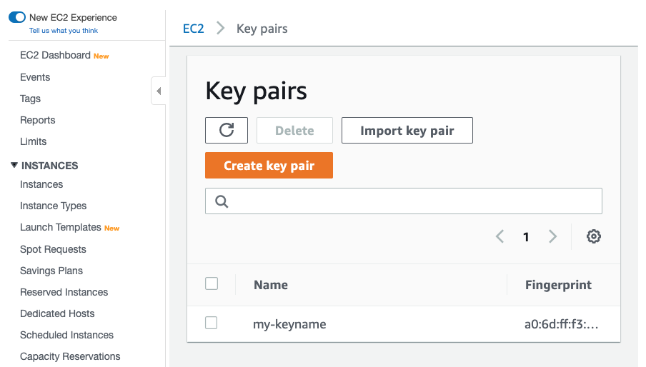 AWS Management Console, EC2 > Key pairs page