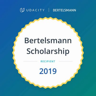 Udacity Bertelsmann Scholarship Recipient 2019 Badge