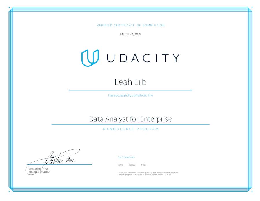 Udacity Data Analyst Nanodegree Certificate