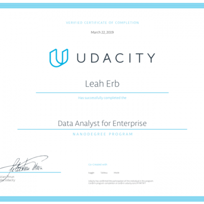 Data Analyst Nanodegree certificate