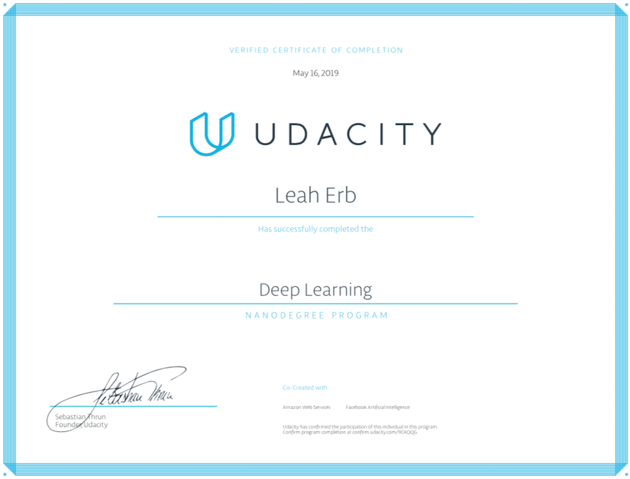 Deep Learning Nanodegree certificate from Udacity
