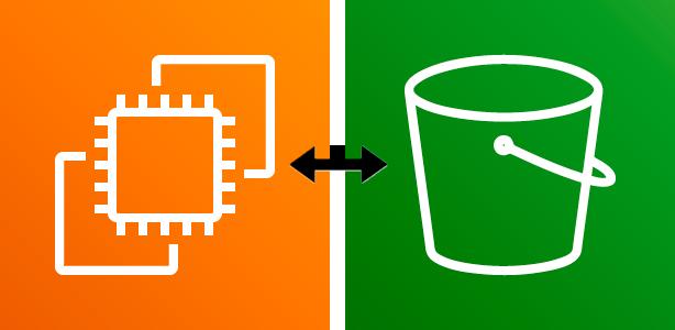 EC2 and S3 icons, 2-way arrow between