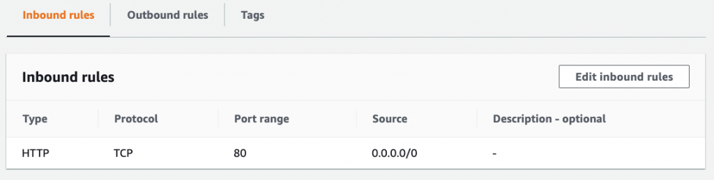 AWS Console showing a single inbound rule