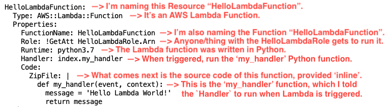 I'm naming this Resource 'HelloLambdaFunction'.  It's a Lambda Function. I'm also naming the Function 'HelloLambdaFunction'. Anyone/thing with the HelloLambdaRole gets to run it. The Lambda function was written inPython. When triggered, run the 'my_handler' Python function. What comes next is the source code of this function, provided 'inline'. Th 'my_handler' function, which I told the 'Handler' to run when Lambda is triggered.