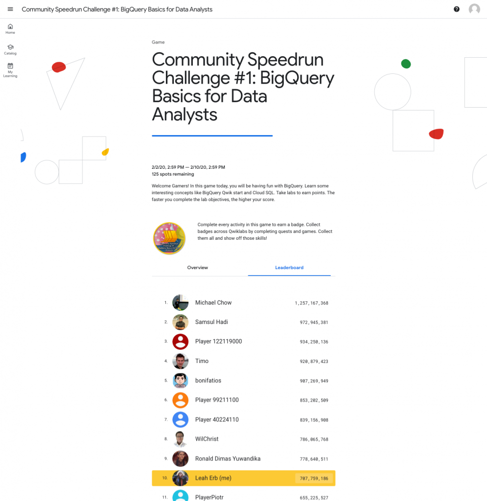 Google Community Speedrun Leaderboard Week 1