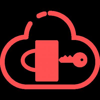 key unlocking padlock inside a cloud