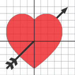 heart and arrow on a graph